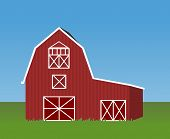 image of red barn  - Illustration of red and white barn with green grass in front and blue clear sky in the background - JPG