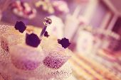 image of sugarpaste  - Capture of delicious looking Cupcakes on plate - JPG