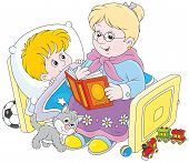 pic of babysitting  - Grandmother reading aloud a book of fairy tales to her grandchild lying in his bed - JPG