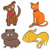 picture of goldfish  - Set of color images of animals in cartoon style cat - JPG