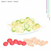picture of brussels sprouts  - Healthcare Concept Illustration of Stir Fried Brussels Sprout with Vitamin K Vitamin C and Minerals Tablet Essential Nutrient for Life - JPG