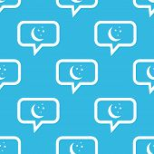 image of crescent-shaped  - Image of crescent moon and stars in chat bubble - JPG