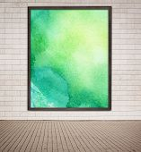 foto of cinder block  - Painted watercolor picture with wooden frame hanging on grey brick wall near the street - JPG