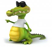 stock photo of crocodiles  - Crocodile with a white tshirt - JPG
