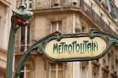 stock photo of art nouveau  - Art Nouveau influenced signs for the Paris M - JPG