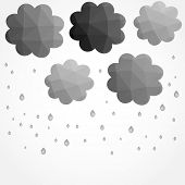 stock photo of rain cloud  - Grey clouds leaf in low poly style - JPG