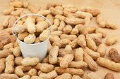 stock photo of bucket  - White bucket with dried peanuts on the wooden floor as a background - JPG