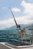 pic of rod  - Fishing rod and reel on a sailing yacht - JPG