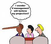 pic of rep  - Business cartoon of businessman with long nose wondering  - JPG
