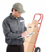 pic of hand-barrow  - Delivery worker with hand truck - JPG