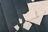 picture of matzah  - Matzo for Passover on table  close up - JPG