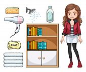 picture of household  - Girl and set of household objects - JPG