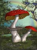 picture of magical-mushroom  - antasy landscape in the garden with mushroom - JPG