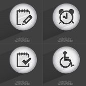 image of tasks  - Notebook Alarm clock Task completed Disabled person icon sign - JPG