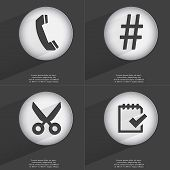 image of hashtag  - Receiver Hashtag Scissors Task completed icon sign - JPG
