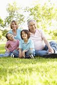 stock photo of grandfather  - Hispanic Grandmother And Grandfather Relaxing With Grandchildren In Park - JPG