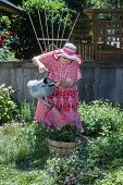foto of inappropriate  - An old granny in straw hat and house dress waters her garden - JPG