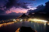 foto of ipanema  - Spectacular Sunset above Rio de Janeiro - Lagoon, Mountains, Leblon, Ipanema, and Gavea Neighborhoods Illuminated in the Dark. ** Note: Soft Focus at 100%, best at smaller sizes - JPG