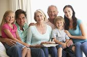 picture of extend  - Extended Family Group Celebrating Birthday - JPG