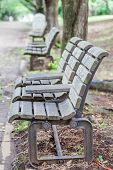 pic of pubic  - Wooden bench at pubic park in summer  - JPG