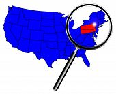 stock photo of united states map  - Pennsylvania state outline set into a map of The United States of America below a magnifying glass - JPG