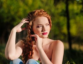 image of freckle face  - Portrait of a beautiful red - JPG