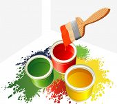 Farben und Pinsel. Vector.