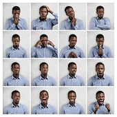 Set Of African Man Dressed In Blue Shirt Showing Different Emotions: Sadness, Surprise, Anger. Colla poster
