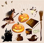 Halloween design elements and decorations vector set.