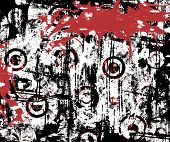 Circles grunge background with red dripping splatter