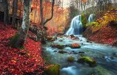 Autumn Forest With Waterfall At Mountain River At Sunset poster