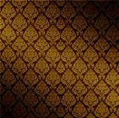 Vector Seamless Dark Damask Background, See Jpeg Also In My Portfolio