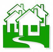 Vetor 3D casas verdes