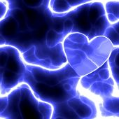 Electrified Heart In Blue