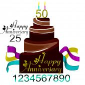 Vector Happy Anniversary Cake, Easily Change Numbers