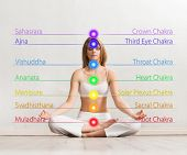 Young and healthy girl meditating in lotus position. Colored chakra lights over her body. Yoga, zen, poster