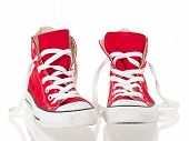 Red Vintage Canvas Sneakers Untied