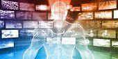 Data Center with System Administrator Navigating Data 3d Illustration Render poster
