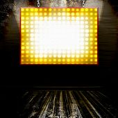 Theater Marquee Lights Billboard Sign On Grunge Wall