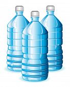 Vector version. Isolated blue bottles of clean water for design