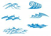 Set 3 of wave symbols for design isolated on white. Jpeg version also available