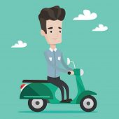 Постер, плакат: Young caucasian man riding a scooter outdoor Smiling man driving a scooter Happy man enjoying his