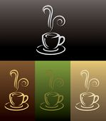 coffee cup icon in 4 colored
