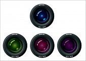 lente de la cámara en color diferente