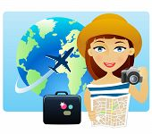 Young woman traveling around the world