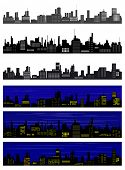 Collection of seamless vector towns