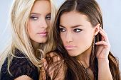 image of brunette hair  - blond and brunette portrait - JPG
