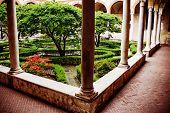 garden inside of church Santa Maria delle Grazie , Italy, Milan