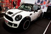 Moscow, Russia - August 25: White Car Mini Cooper At Moscow International Exhibition Interauto On Au