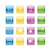 Aqua household goods icons. Vector file has layers, all icons in four versions are included.